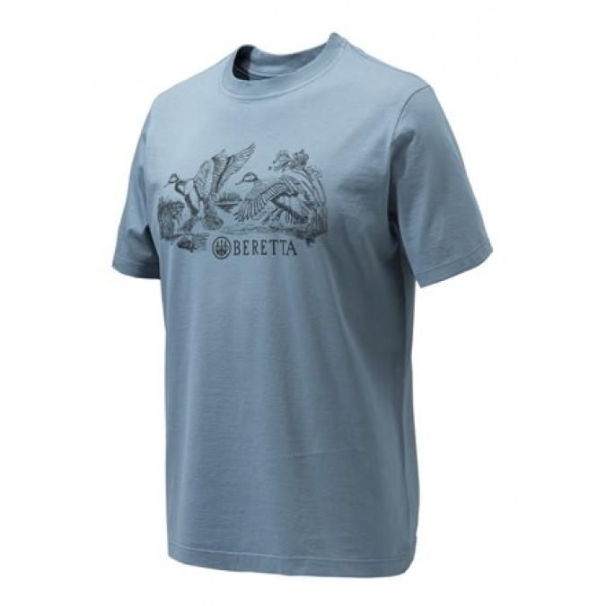 Beretta T-shirt with Duck Hunting Scene - Blue