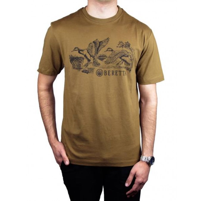 Beretta T-shirt with Duck Hunting Scene - Brown